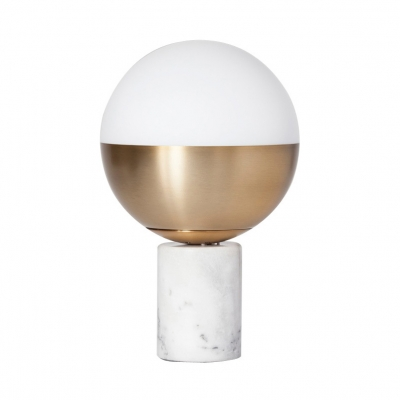 Sphere Desk Lamp Contemporary Opal Glass Accent Table Lamp with Cylinder Marble Base