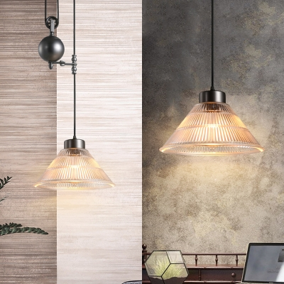 Vintage 1 Light LED Pendant with Cone Ribbed Glass