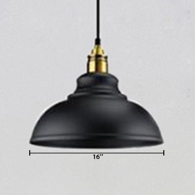 Vintage Industrial Style Coffee House Restaurant Hanging Light with Satin Black Metal Dome Shade and Gold Finish Lamp Socket