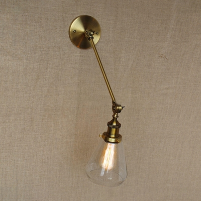 Vintage Swing Arm Wall Sconce with Cone Shade Clear Glass 1 Bulb Wall Lighting in Aged Brass