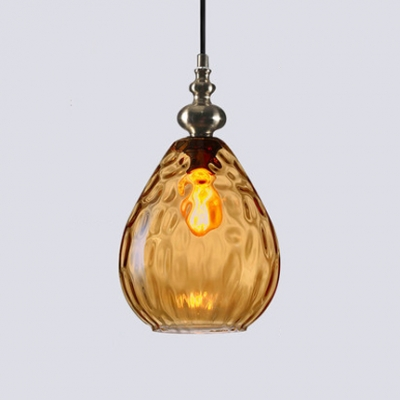 Water Drop Hanging Lamp Contemporary Adjustable Amber/Smoke Glass 1 Light Drop Light