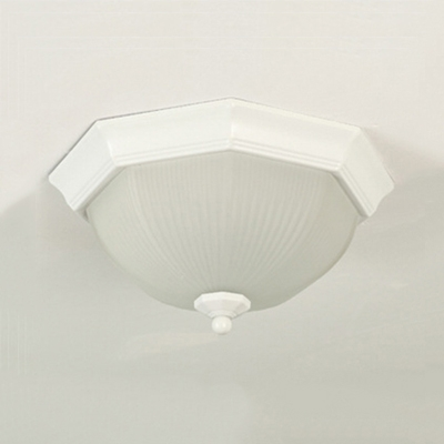 White Octagon LED Ceiling Lamp with Bowl Shade Vintage Ribbed Glass Flush Light for Balcony