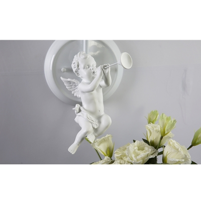 1 Bulb Coolie Lighting Fixture with Angel Baby American Retro Sconce Light with White Fabric Shade