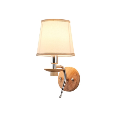1 Bulb Tapered Wall Mount Light Rustic Style Sconce Light with Wooden Base in Chrome