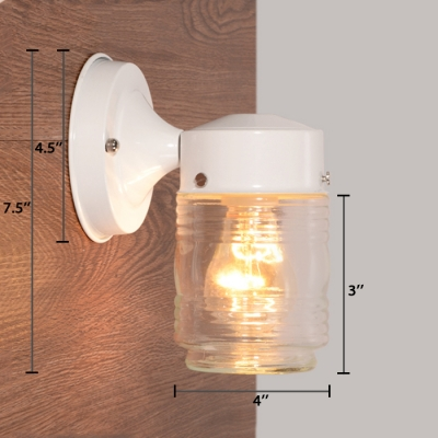 1 Head Cylindrical Sconce Light Modern Fashion Clear Glass Wall Mount Light in White