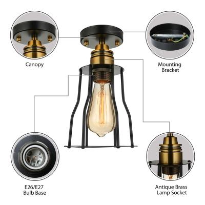 6'' Wide Mini Cage LED Semi Flush Ceiling Light