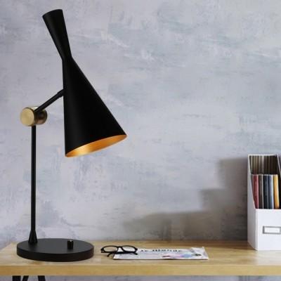 Adjustable 1 Head Hourglass Desk Lamp Designers Style Simple Metal Table Light in Black