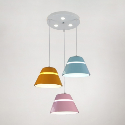 Bucket Shaped LED Hanging Light Nordic Style Metal Colorful LED Island Pendant Lights