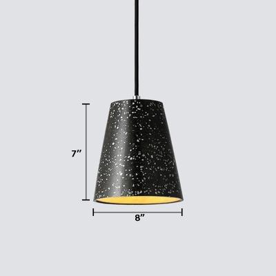 Conical Shade Pendant Lamp Designers Style Eco Friendly Concrete Suspension Light in Black