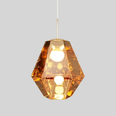 Diamond Shape Drop Light Designers Style Glass Single Head Suspended Light in Gold