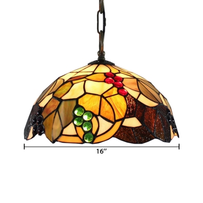 Fruit Pattern Tiffany Stained Glass Shade in Dome Shaped 12