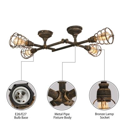 Industrial Cross Plumbing Semi Flush Mount Ceiling Light in Rust Finsh, 4 Lights 33.4'' Width