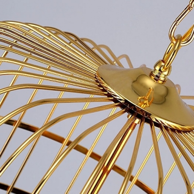LOFT Lovely Gold Bird Cage LED Pendant with Fabric Inner Shade