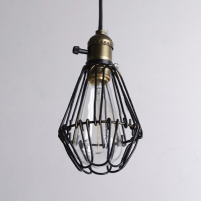 Loft Style Wire Guard Pendant Light in Black Single Hanging Light 4