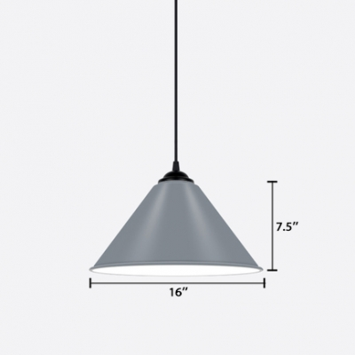 Metallic Cone Pendant Lamp Modernism 1 Head Accent Drop Light in Gray for Dining Room