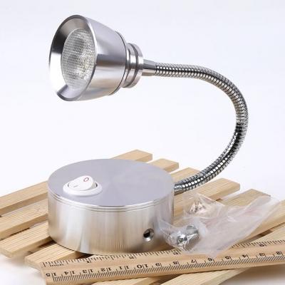 Metallic Flexible Neck Spotlight Modernism Simple Single Light LED Wall Light in Chrome