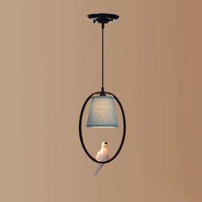 Metallic Halo Ring Hanging Lamp with Bird Decoration American Retro 1 Bulb Pendant Light in Black