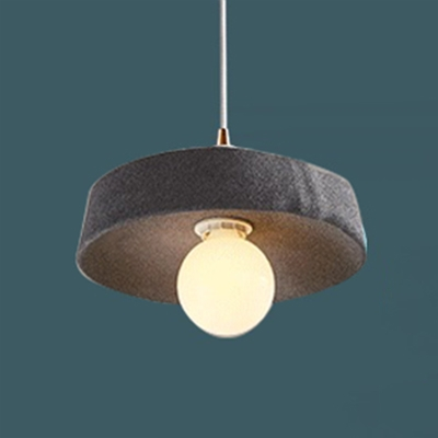 Modern Drum Hanging Lamp Dining Room Bedroom Metallic 1 Bulb Lighting Fixture in Gray/Pink/Yellow