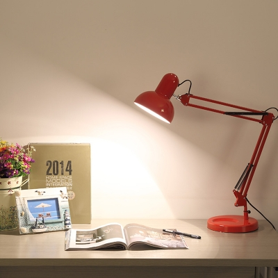 Modern Swing Arm Table Lamp Metal Single Light Table Light in Green/Red/Yellow for Study Room