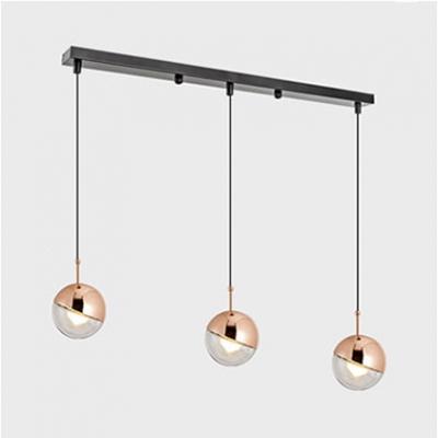 Rose Gold Orb Pendant Light Fixture Modern Transparent Glass 3 Light Suspended Light