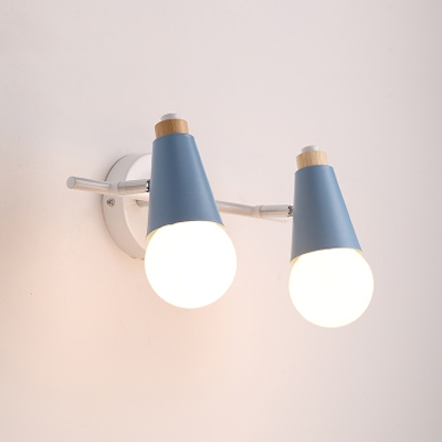Rotatable Open Bulb Sconce Light Coffee Shop Metallic 2 Light Wall Mount Light in Blue/Pink/Yellow