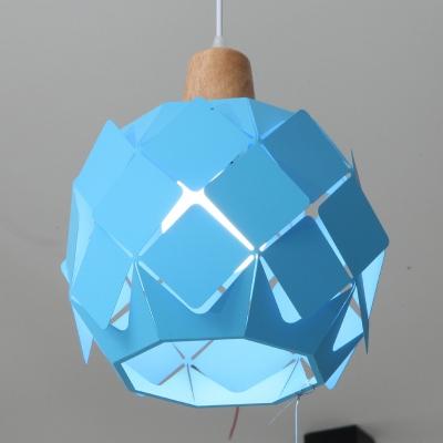 Sky Blue Bucket Drop Light Modern Fashion Iron Single Light Decorative Ceiling Pendant Light