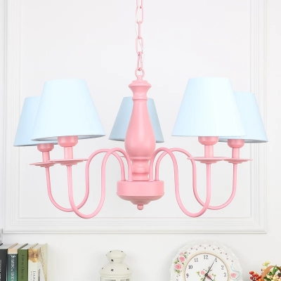 Tapered Lighting Fixture Rustic Style Metallic 5 Lights Decorative Suspension Light in Pink Finish