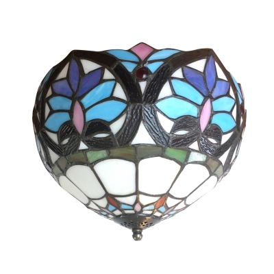 Two Light Flush Mount Ceiling Light in Tiffany Victorian Style with 12