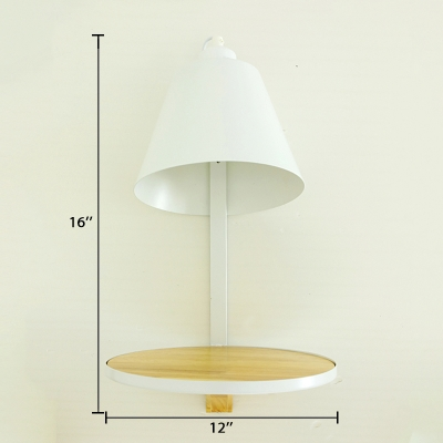 White Finish Cone Wall Light Simplicity Designers Style Wall Sconce with Wood Base