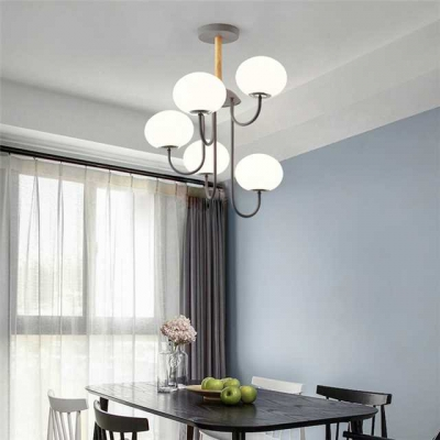 White Glass Oval Chandelier Modern Fashion 5 Bulbs Hanging Light in Gray for Sitting Room