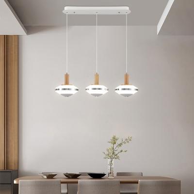 Wooden Geometric Island Pendant Modern Design 3 Light Hanging Light for Bar Restaurant