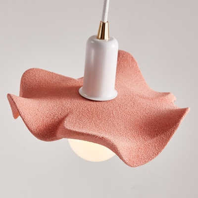 1 Head Petal Style Pendant Light Nordic Style Kids Room Metal Hanging Light in Blue/Green/Pink/Yellow