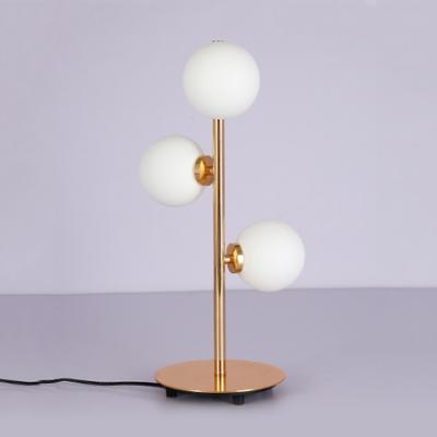 3 Light Orb Table Light Modern Fashion White Glass Reading Light for Study Room