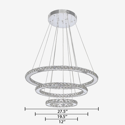 3-Tier Circular Ring Lighting Fixture Modern Crystal Hanging Light in Silver for Living Room