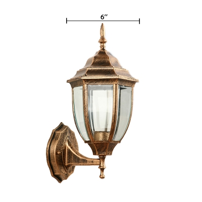 Antique Brass Lantern Sconce Light Traditional Vintage Metal 1 Head Outdoor Wall Lighting