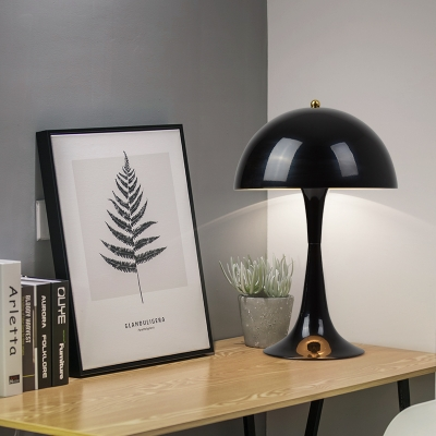 Black Finish Dome Table Lamp Designers Style Metallic Single Light Table Light for Study Room