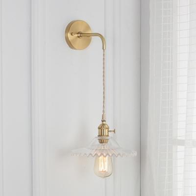 Brass Finish Scalloped Suspender Wall Light Vintage Clear Glass 1 Light Sconce Lighting for Hallway, HL500135