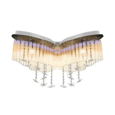 Butterfly LED Chandelier Girls Bedroom Hanging Crystal Flush Mount Light in White