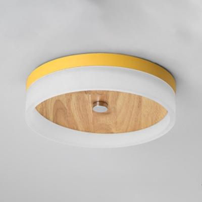 Circular LED Flush Mount Modernism Colorful Wooden Base Ceiling Fixture for Game Room Kindergarten