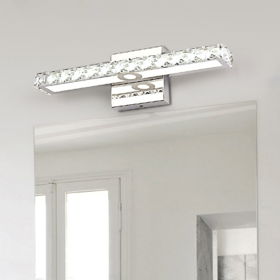 Crystal LED Vanity Light Modernism Stainless Makeup Lighting Fixture in Warm/White