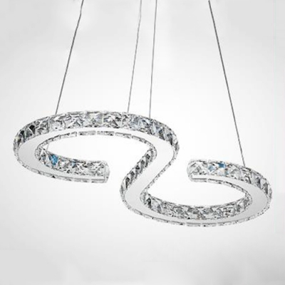 Crystal S Shape LED Suspension Light Modern Fashion Hanging Ceiling Lamp in Chrome