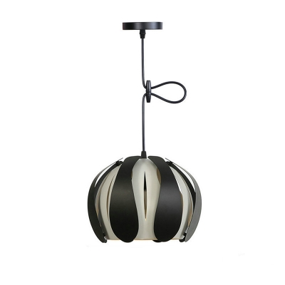 Dome Drop Light Modern Design 1 Light Suspended Lamp in Black and White with Metal Slat
