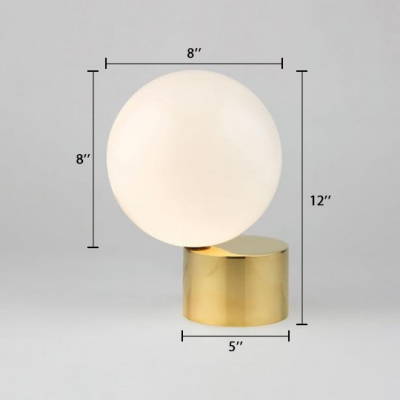 Frosted Glass Orb Table Light Designers Style 1 Bulb Desk Lamp in Brass Finish for Bedroom