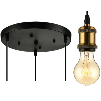 Industrial Style 3 Light Vintage Brass LED Pendant