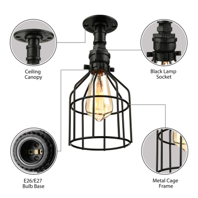 Industrial Wire Cage Shade Semi Flush Mount in Black Finish 10.5'' High