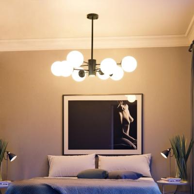 Milky Glass Ball Shade Chandelier Post Modern 8 Light Ceiling Pendant Light for Bedroom