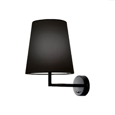 Minimalist Coolie Wall Sconce with Black Fabric Shade Single Light Wall Lighting for Corridor