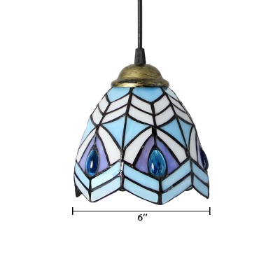 Peacock Style Blue Stained Glass Tiffany One-light Mini Hanging Pendant