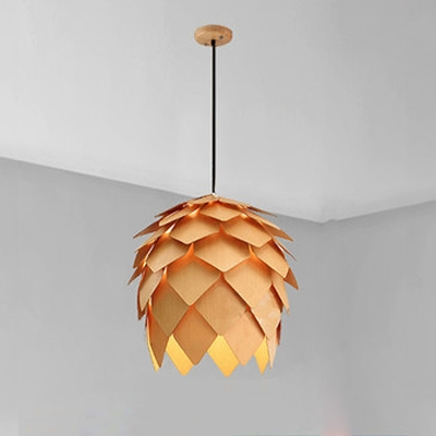 Pinecone Shade Pendant Light Natural Designer Woody Hanging Light for Living Room