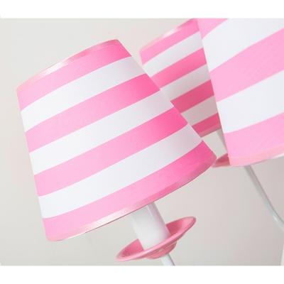 Pink Strips Design Ceiling Pendant Light American Retro Fabric 3/5 Lights Chandelier for Girls Room